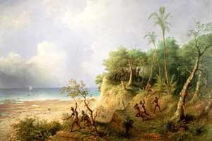 An Australian landscape painting with European explorers and Australian Aborigines by R.B. Beechey 1863