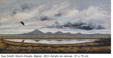 "Sue Smith ""Storm Clouds, Bajool"" 2011 Acrylic on canvas  37 x 75 cm"