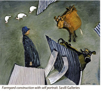 Farmyard construction with self portrait. WIlliam Robinson, Savill Galleries