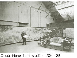 Claude Monet in his studio c1924-25
