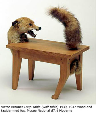 Victor Brauner Loup - Table (wolf table) 1939, 1947 Wood and taxidermied fox