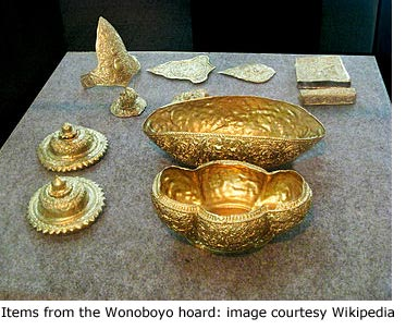 Gold items from Wonoboyo hoard, Indonesia