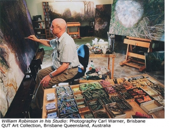 William Robinson in his Studio. Carl Warner photo, QUT art collection