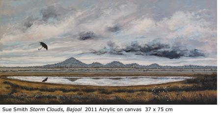 "Sue Smith ""Storm Clouds, Bajool"" 2011 Acrylic on canvas  37 x 75 cm"