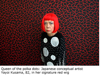 Queen of the polka dots: Japanese conceptual artist Yayoi Kusama, 82, in her signature red wig