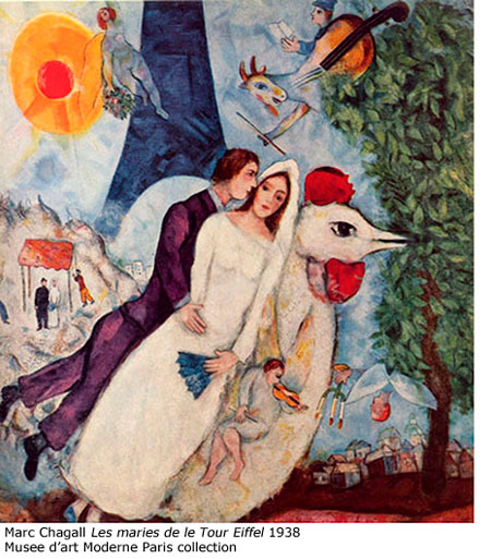 Marc Chagall Les maries de la Tour Eiffel 1938