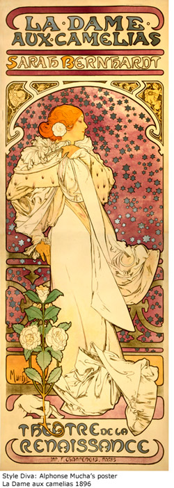 Style Diva: Alphonse Mucha's poster La Dame aux camelias 1896