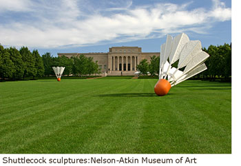 Shuttlecock sculptures outside the Nelson-Atkin Museum of Art, Kansas City